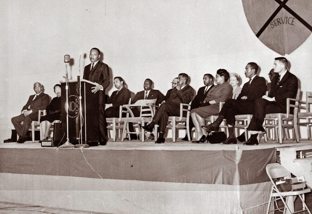 Martin Luther King, Jr., speaking at North Carolina Central University, Durham, NC, in 1966. From the General Negative Collection, State Archives of North Carolina.