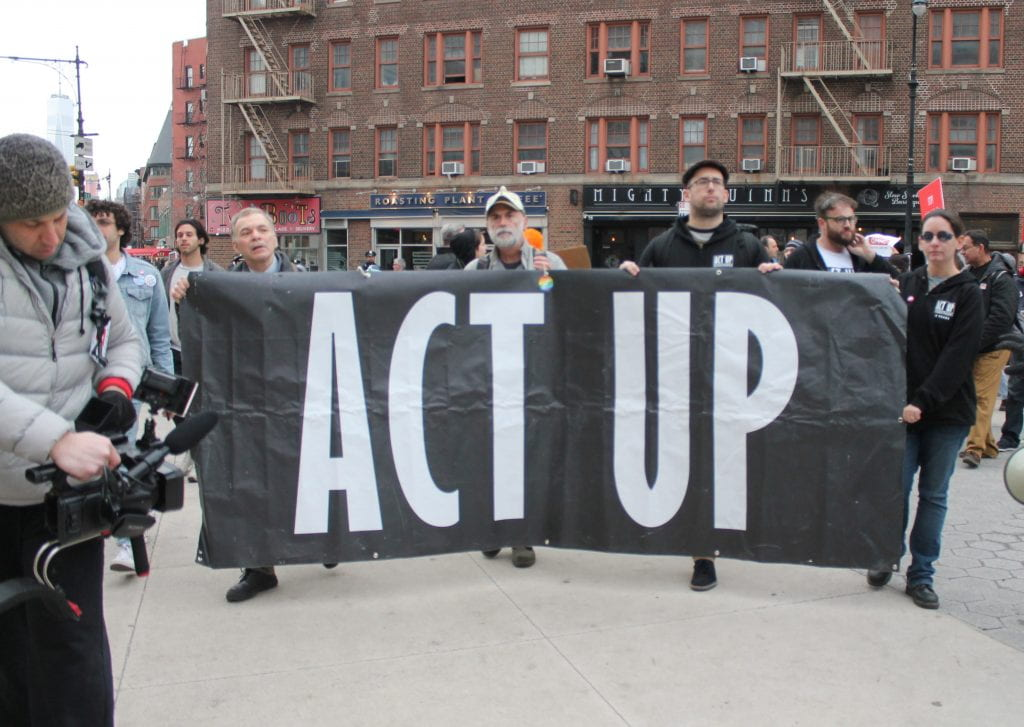a sign from the 30th anniversary of ACT UP rally