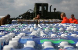 a picture of water bottles
