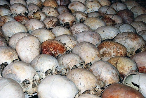 Skulls of the victims of the Rwandan Genocide lined up