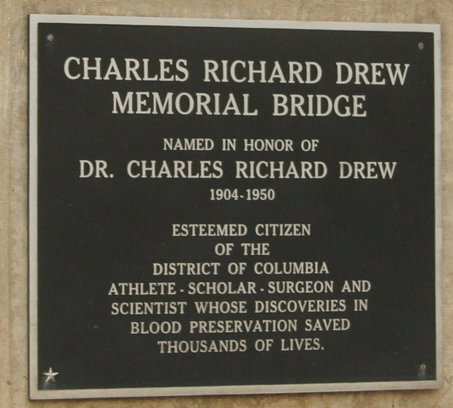 A memorial plaque for Dr. Charles R. Drew