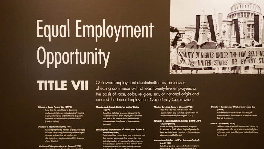 A display board from the Rosa Parks Collection Library of Congress about Equal Employment Opportunity