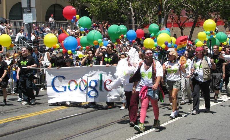 The google team marches in a gay pride parade