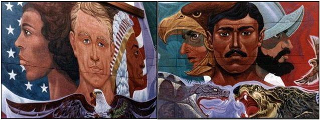 A mural of diverse faces on the gateway into Chamizal National Memorial