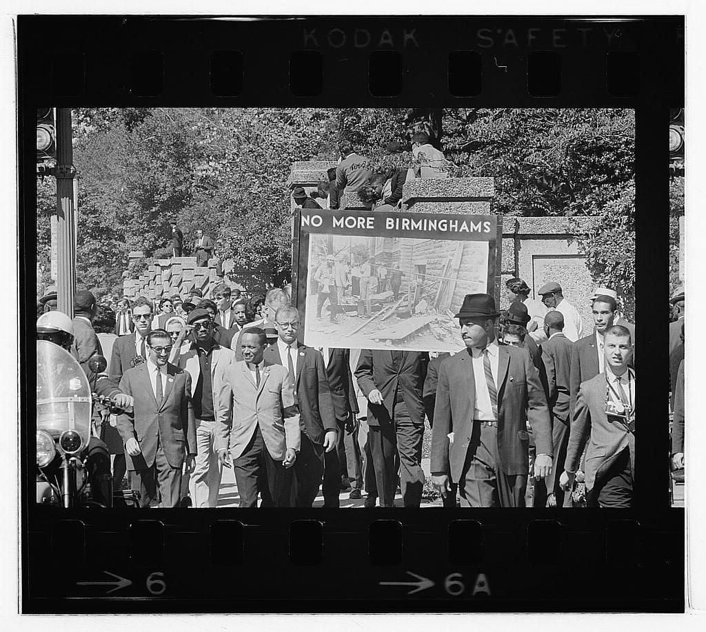 Congress of Racial Equality conducts march in memory of Negro youngsters killed in Birmingham bombings, All Souls Church, 16th Street, Wash[ington], D.C. (LOC)