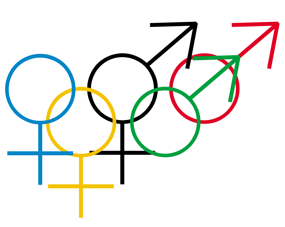 The Olympic rings modified with male and female gender symbols