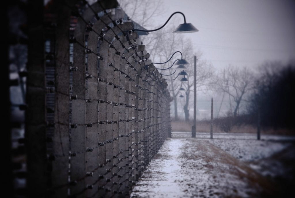 a picture of Birkenau in the snow