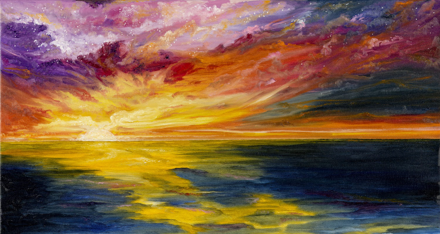 A watercolor painting of the ocean at sunset.