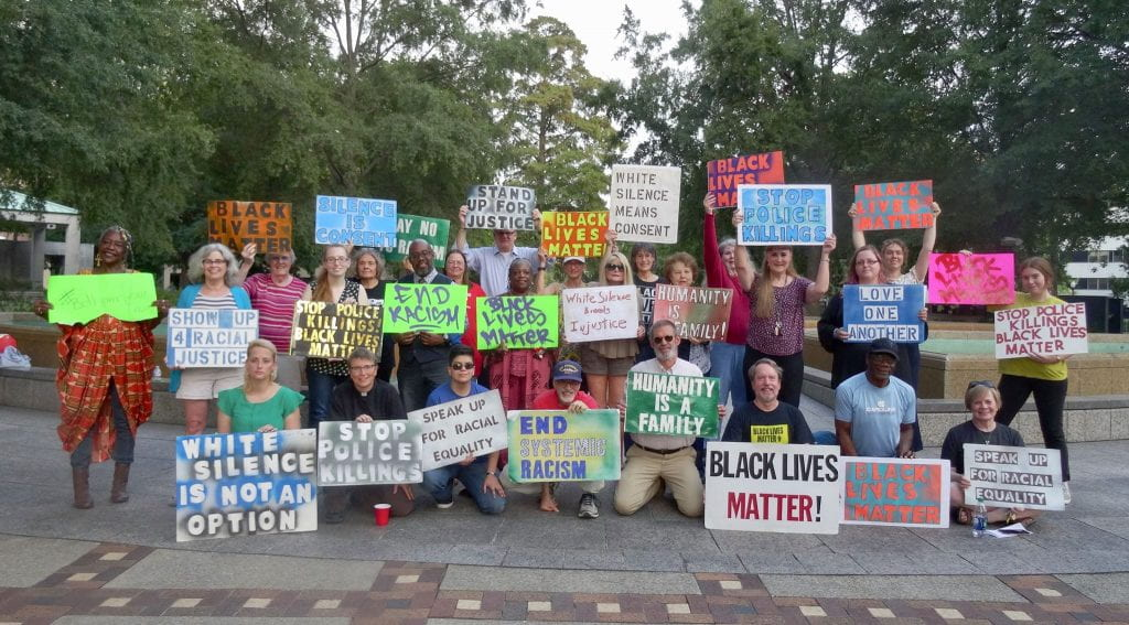 a group photo of White Birminghamians for Black Lives
