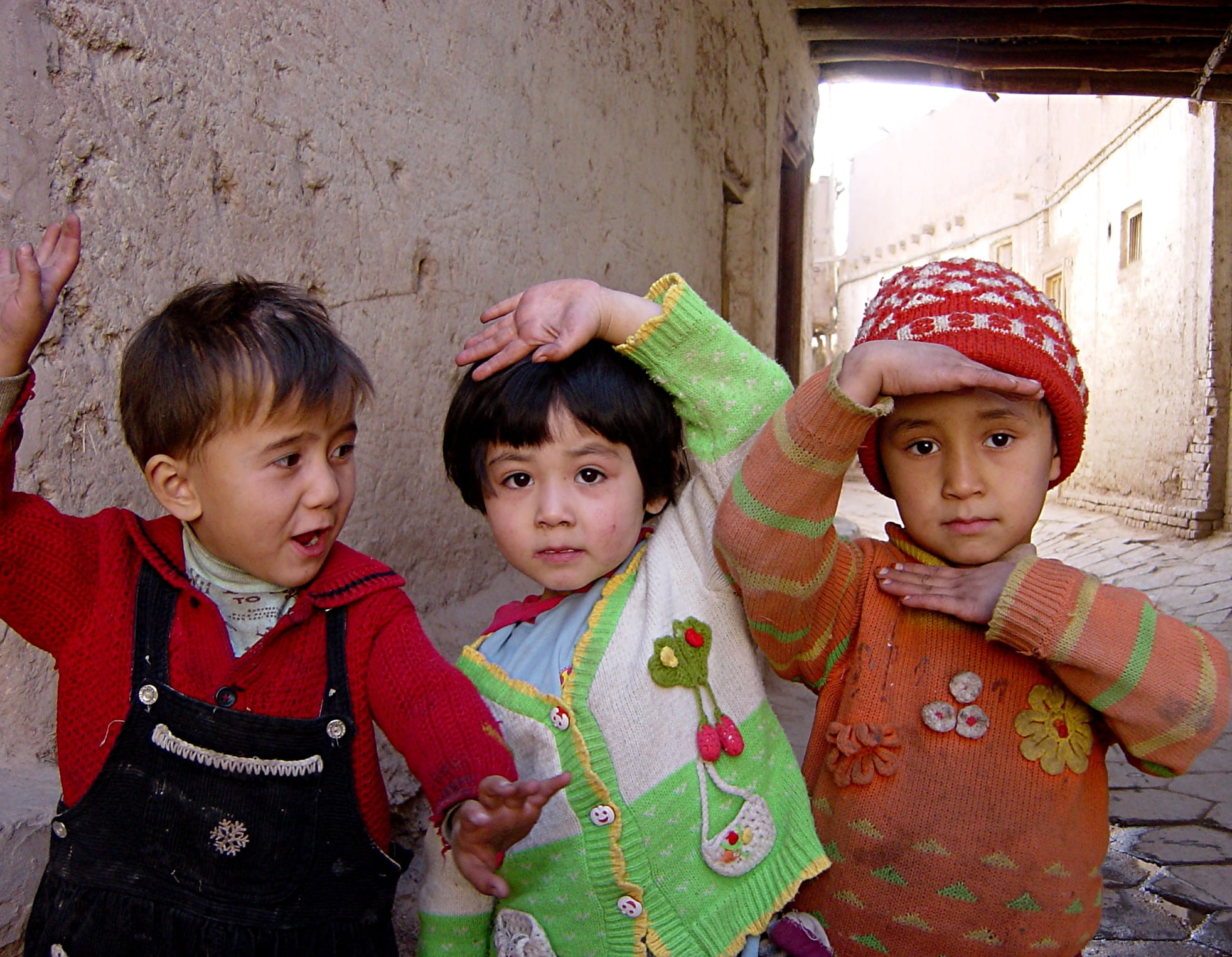 Uyghur children in old town Kashgar, China.