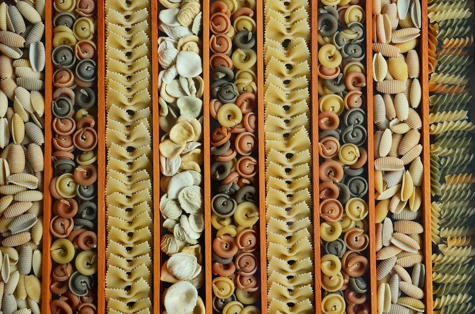 a photo of various types of pasta