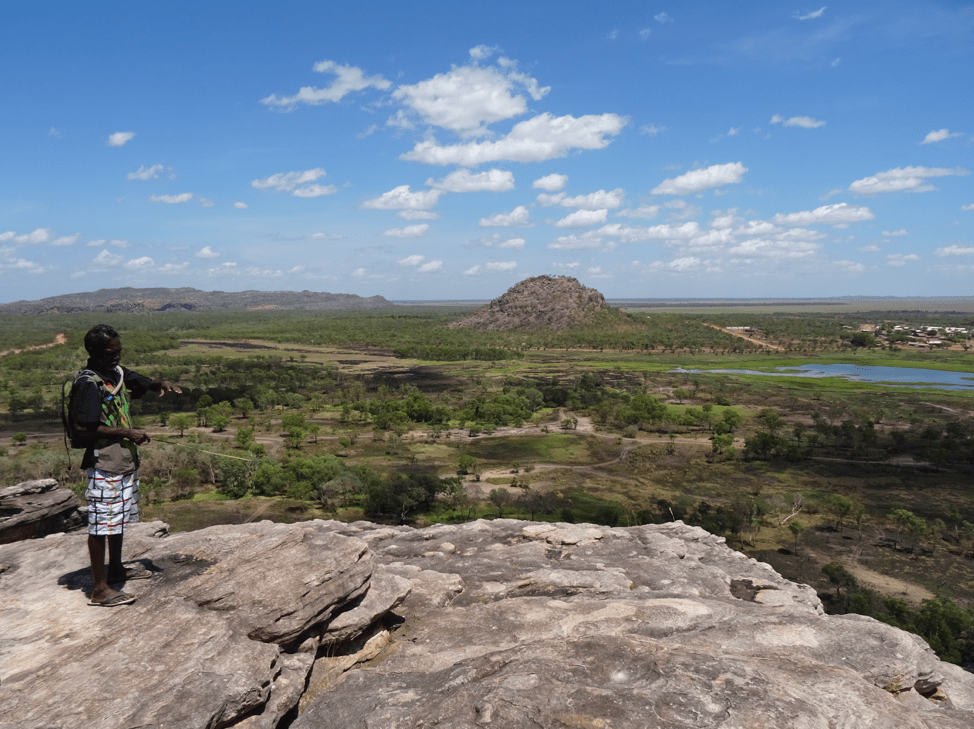 An Aboriginal Australian standing on a mountain in the Australian outback