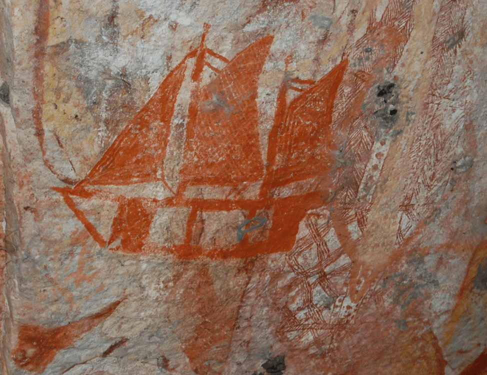 Aboriginal rock art depicting a contact ship from colonizing forces