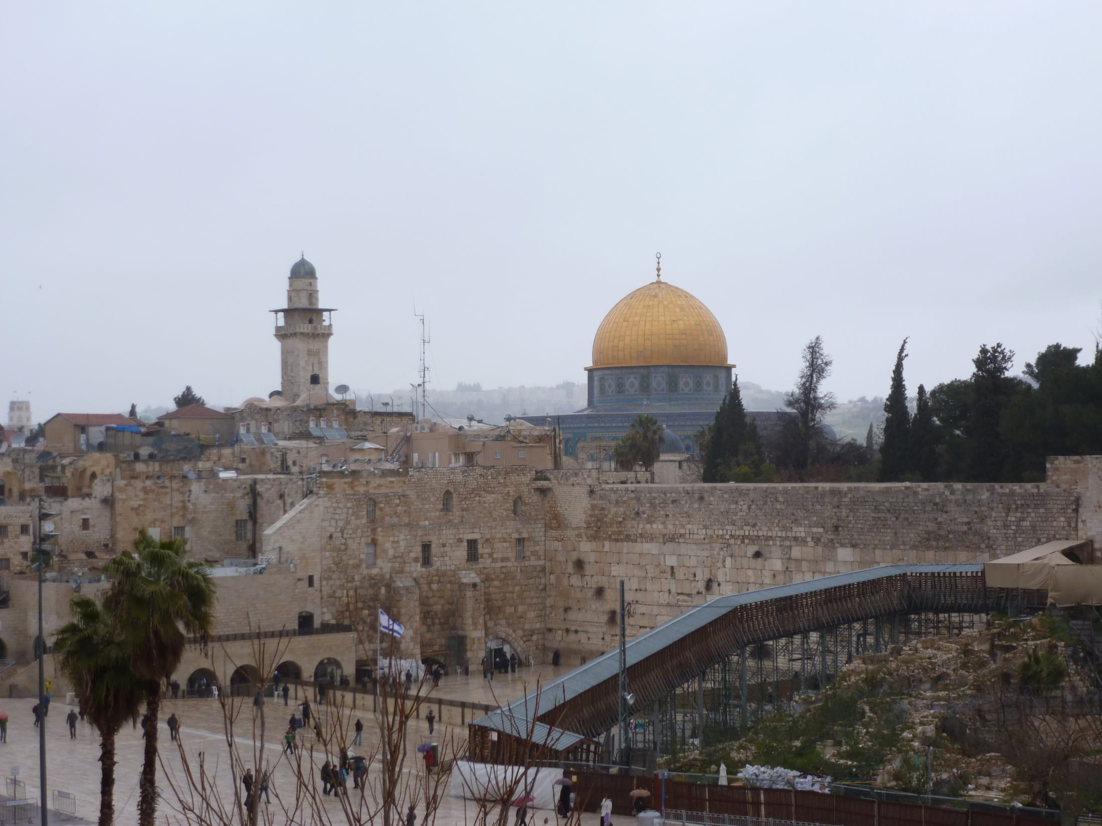 A photo of the Wailing Wall and al-Asqa mosque in Jerusalem.
