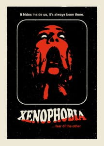 Illustration of woman screaming with terror with the word xenophobia written underneath