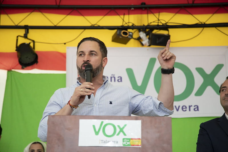 Santiago Abascal speaks at a rally.