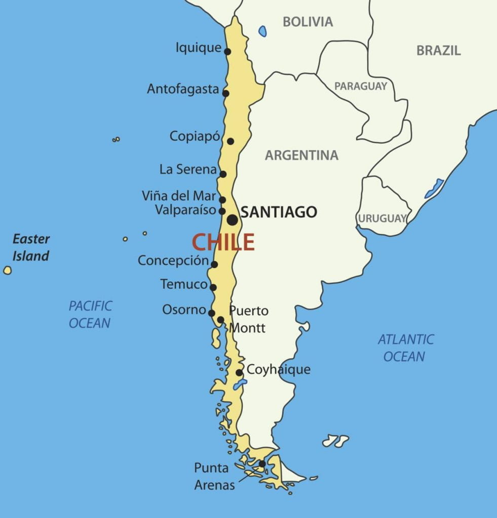 An image of the map of Chile.