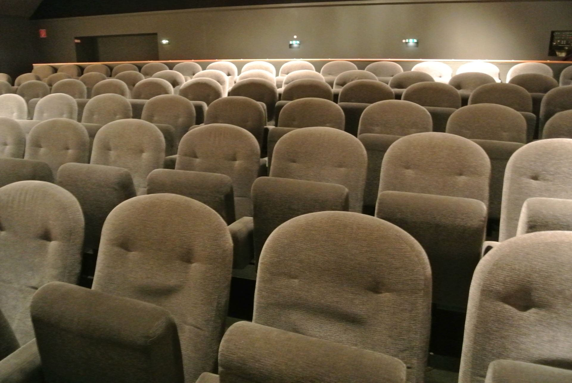 Rows of seats in a movie theater.