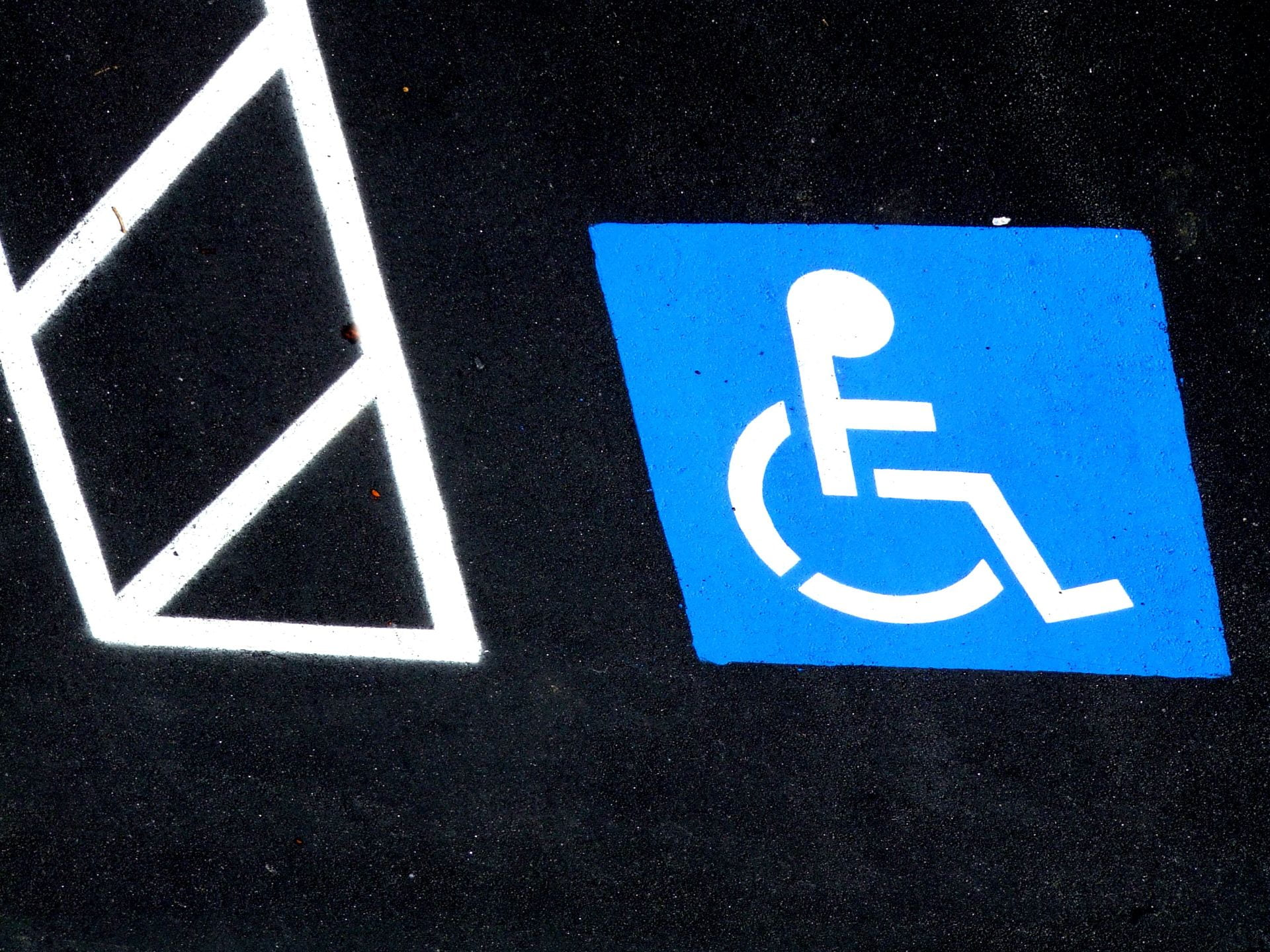 Parking spot reserved for people with disabilities
