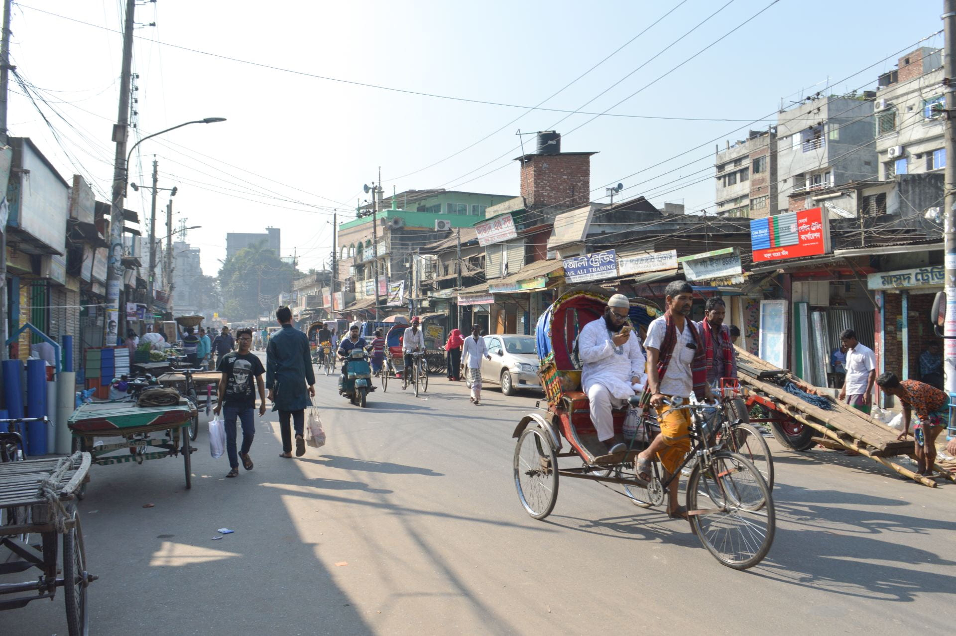 People in the street in Dhaka, Bangladesh.