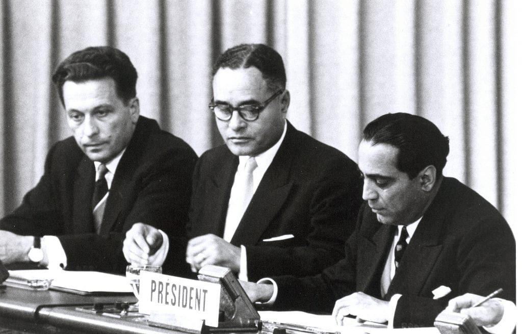 a picture of Ralph Bunche during conference on peace in Geneva, Switzerland