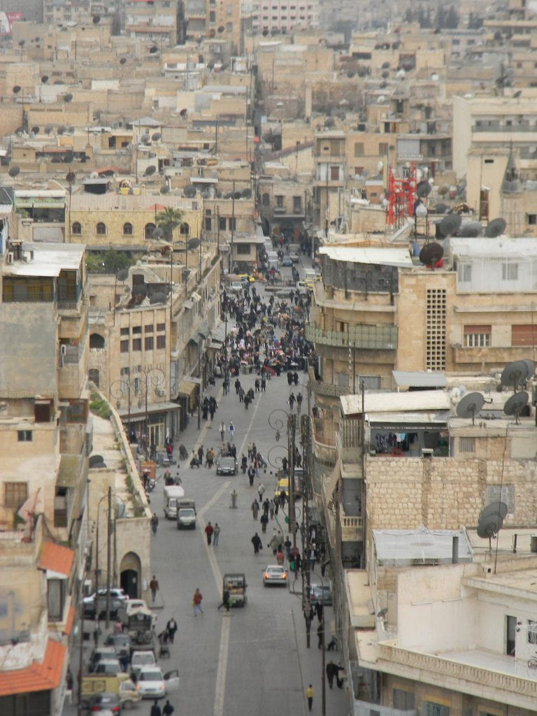 a picture of old Aleppo from the Citadel
