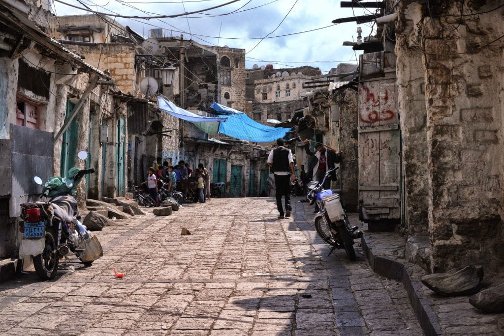 Street photography of Yemen stone alley and buildings