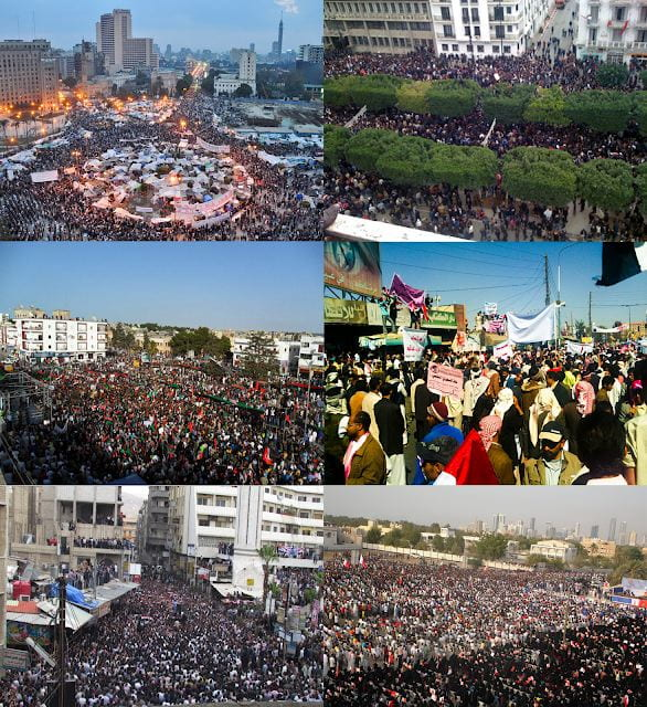 Images of Protests in Cairo, Egypt; Tunis, Tunisia; El Beïda, Libye; Sana'a, Yémen; Damas, Syrie; and Karrana, Bahreïn