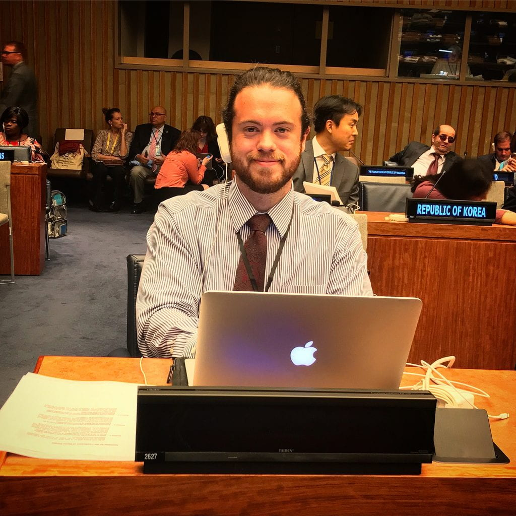 a photo of Nick on the UN floor