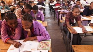 Young African girls in the classroom