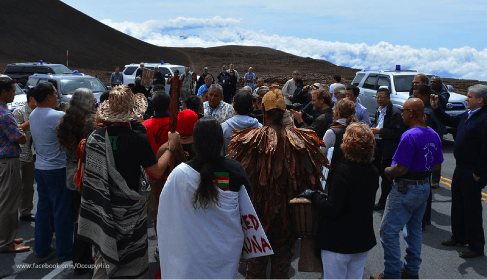 Image of Mauna Kea protectors blocking the road