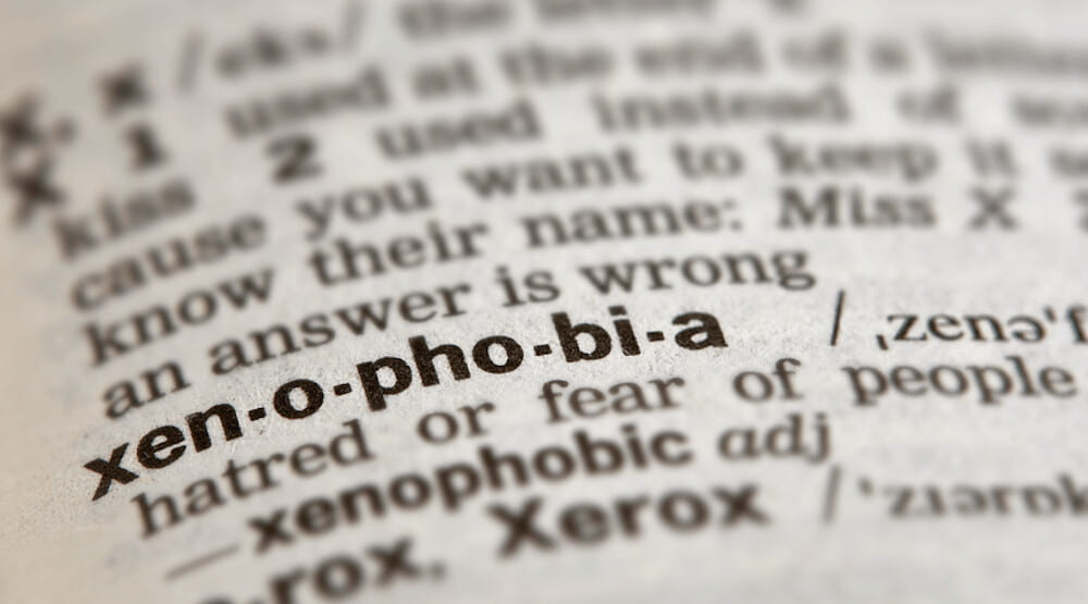 picture of xenophobia in the dictionary