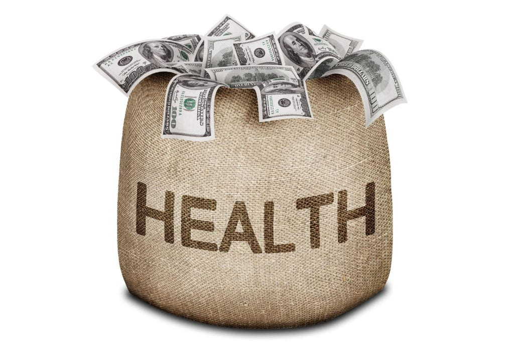 "A bag with the word ""health"" on it overflowing of money"