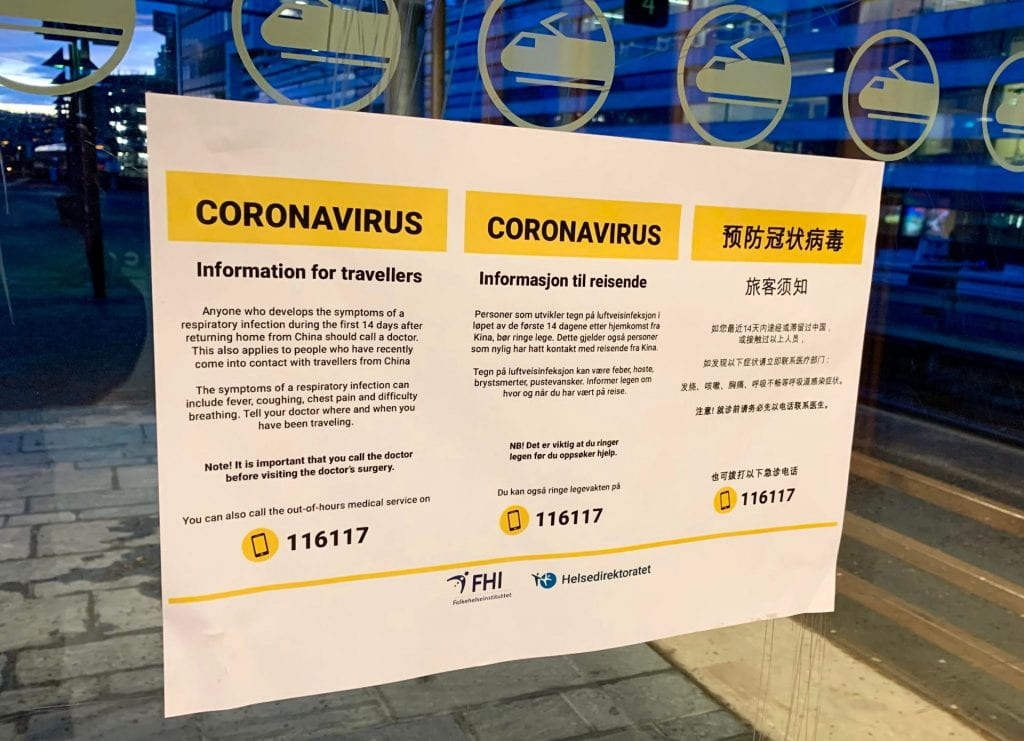 informational poster on coronavirus and travel