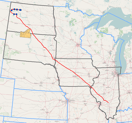 An image of the route of the Dakota Access Pipeline, with the Standing Rock Sioux tribe tribal location highlighted as well, showing where the pipeline would threaten those tribal areas.
