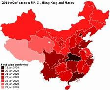 An image of the spread of the coronavirus in January. The Wuhan province is shown to be the most effective, colored in black.