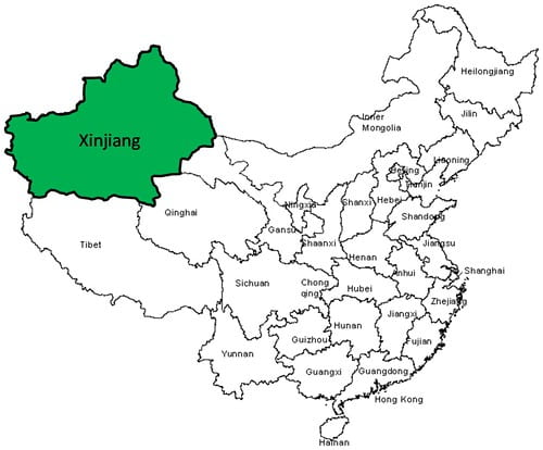 An image of China divided into province. The Xinjiang province is highlighted with the highest concentration of Muslims