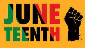 Juneteenth in yellow, black, red and green with black power fist