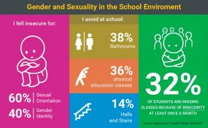 Graphic showing insecurity related to gender and sexuality in school environment
