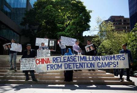 Protestors rebuking China over Uyghur detention