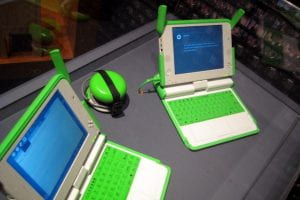 A photo of two children's computers sitting on a desk