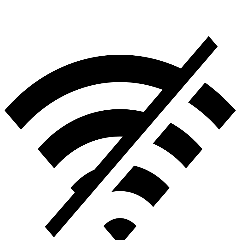 The Wi-Fi symbol, with a cross through it.