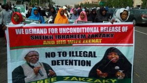 Not just men, but women also protesting the illegal detention of the leader. Source: Yahoo Images.