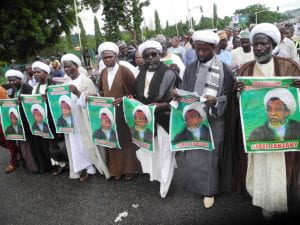 IMN members at the Abuja protest. Source: Yahoo Images.