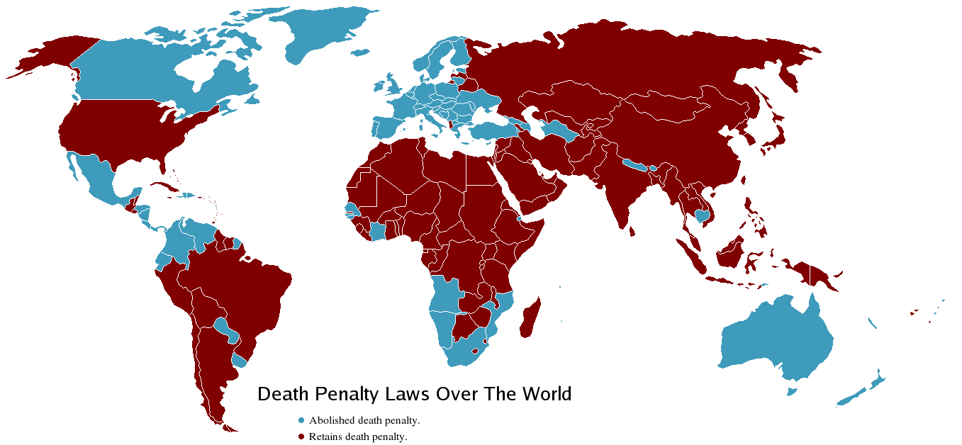 An image of the world map highlighting countries that have abolished and retained the death penalty as of 2006.