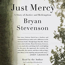 "An image with the words ""Just Mercy"" and ""Bryan Stevenson"""