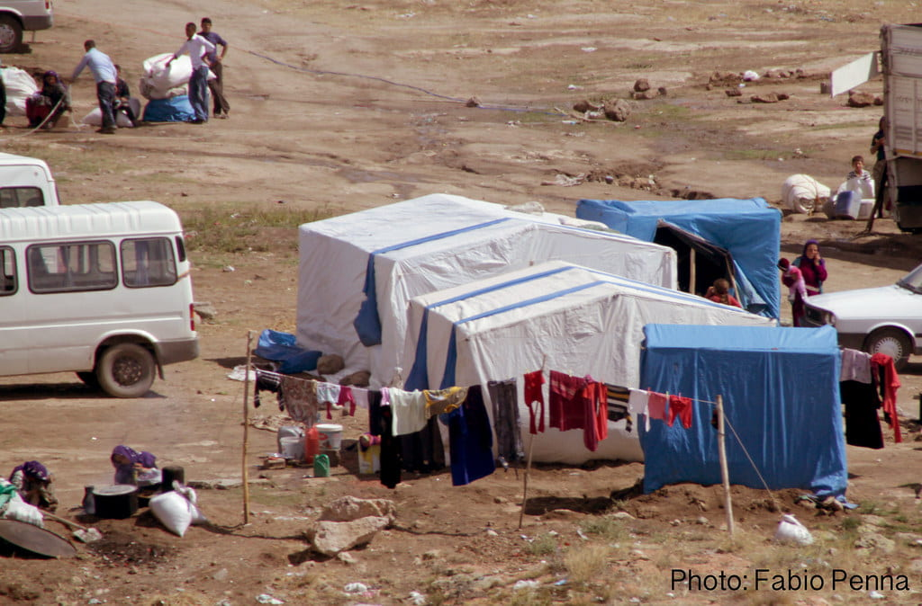 Photo of makeshift tent at refugee campsite in Turkey