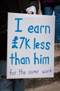 "Poster that reads ""I earn L7k less than him for the same work"""
