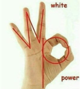 "The ""ok"" hand symbol with the three left fingers representing white and the index and thumb representing power."