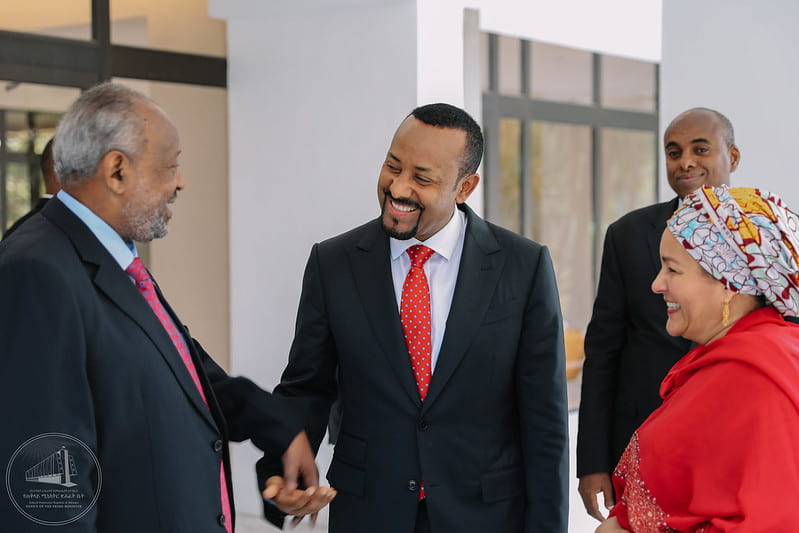 Ethiopian Prime Minister Abiy Ahmed on the left in Tshwane, South Africa